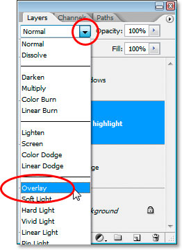 overlay setting in Photoshop
